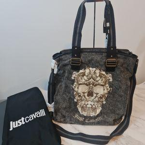 🏷SALE🏷Just Cavalli Black Skull-Print Tote Bag NWT